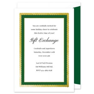 Green and Gold Foil Frame Invitation