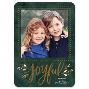 Joyful Leaf Foil Pressed Holiday Photo Card