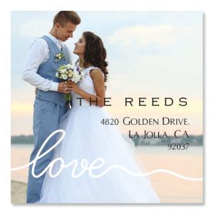 Love Large White Caption Square Custom Photo Address Labels