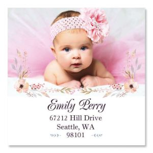 Floral Large Square Custom Photo Address Labels