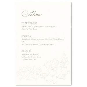 Oyster White Menu Card