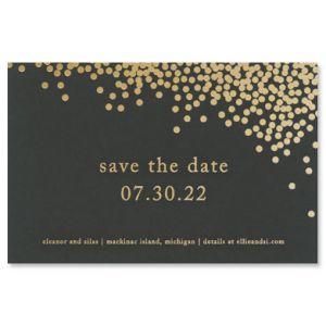 Black Confetti Save the Date Card