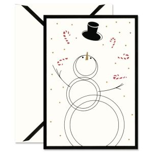 Black Bordered Snowman Holiday Greeting Cards Boxed Set
