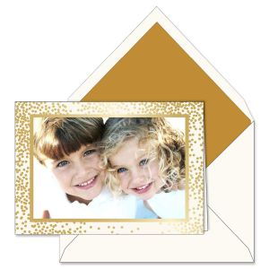 Gold Confetti Photo Mount Holiday Greeting Cards Boxed Set
