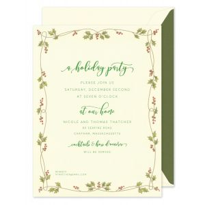 Gilded Holly Vine Invitation