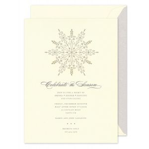 Silver And Gold Snowflake Invitation