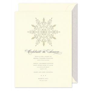 Silver And Gold Snowflake Invitation