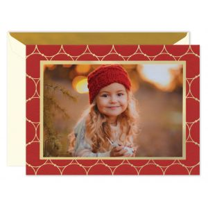 Gold Circles On Scarlet Mounted Photo Card