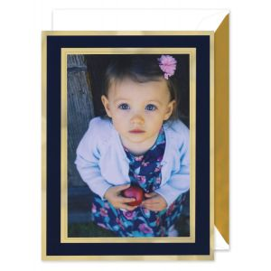 Navy And Gold Mounted Photo Card