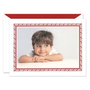 Candy Cane Stripe Mounted Photo Card