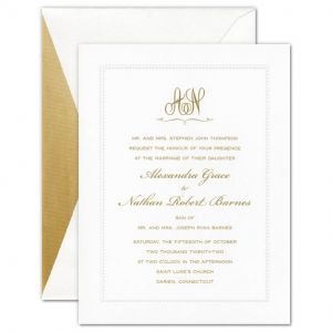 Grace White Embossed Beaded Border Invitation