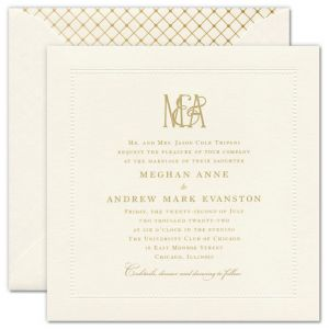 Felicity Ecru Embossed Beaded Border Large Square Invitation