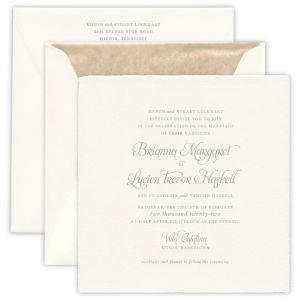Villa Soft White Imported Large Square Invitation