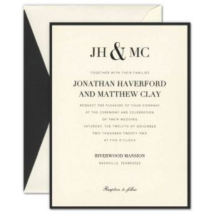 Jonathan Ecru Layered Card on Black Invitation