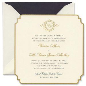 Duchess Gold Regal Large Square Invitation