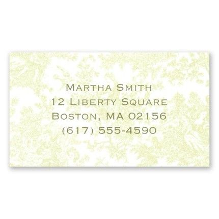 Green Toile Calling Card