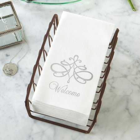 Welcome Silver Scroll Hand Towels