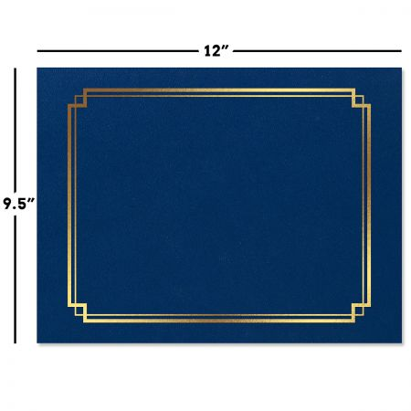 Classic Blue Certificate Folder with Gold Border - Set of 50