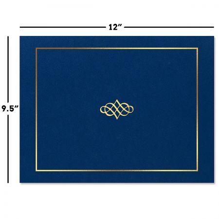 Ornate Blue Certificate Folder with Gold Border/Crest - Set of 50