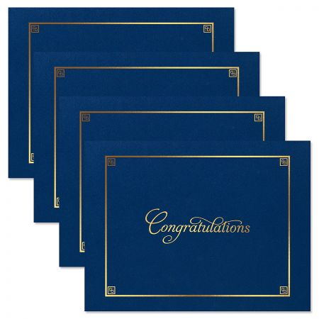 Congratulations Blue Certificate Folder with Gold Border - Set of 50