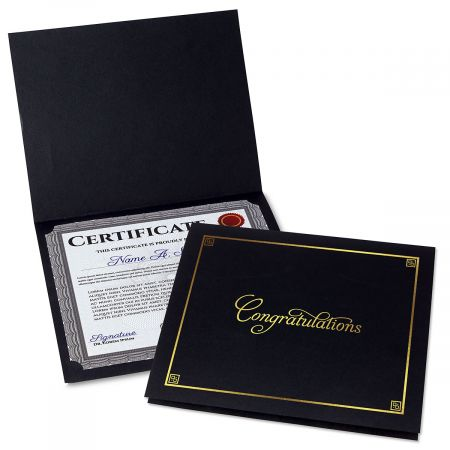 Congratulations Black Certificate Folder with Gold Border - Set of 50