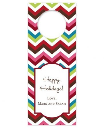 Chevron Holiday Wine Tag