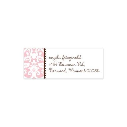 Pink Damask Address Label