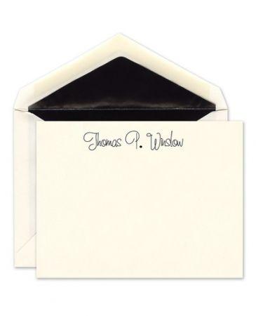 Ecru Fanciful Script Flat Card