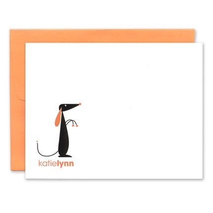 Orange Playful Pup Note Card