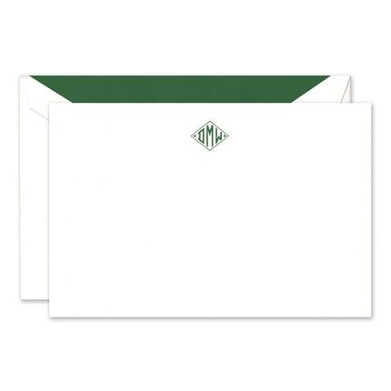 Classic White Diamond Monogram Flat Card