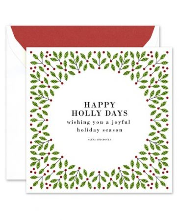 Festive Holly Greeting Card