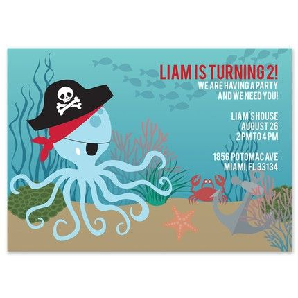Pirate Octopus Invitation