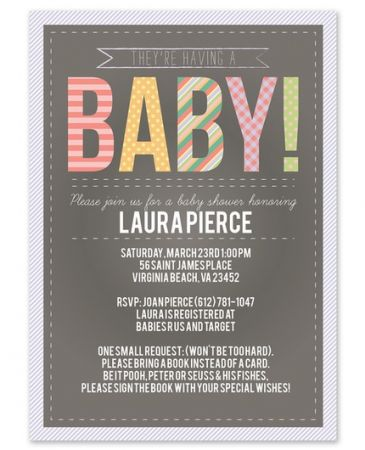 Chalkboard Baby Invitation