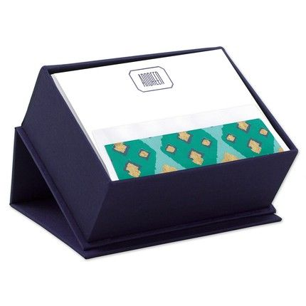 Navy Silk Stationery Box