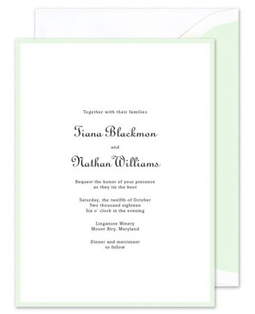 Pale Jade Border Invitation