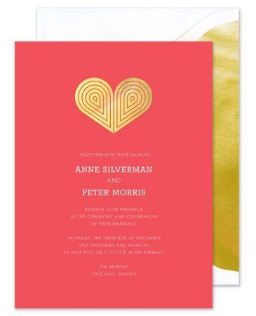 Red Deco Heart Invitation