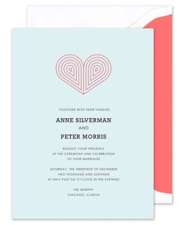 Blue Deco Heart Invitation