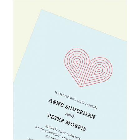 Blue Deco Heart Invitation
