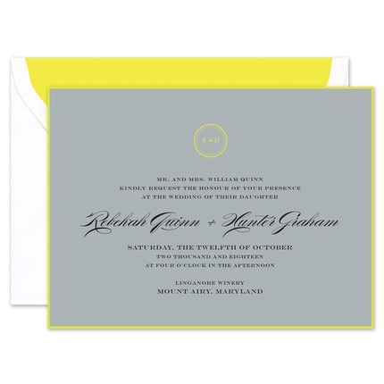 Fluoro Citron Invitation