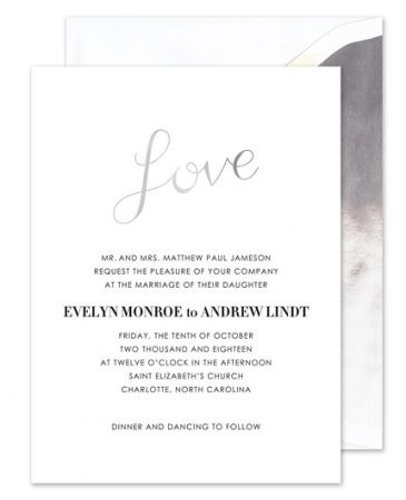 Silver Love Invitation