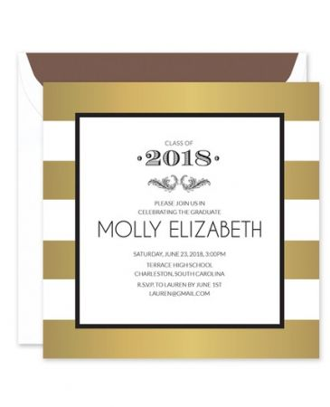 Gold Stripe Invitation