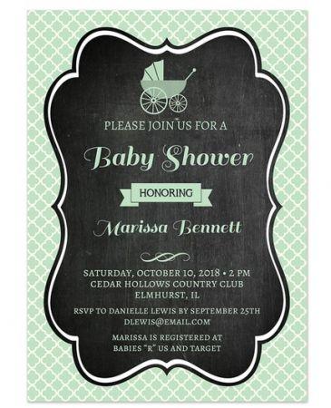 Mint Chalkboard Invitation