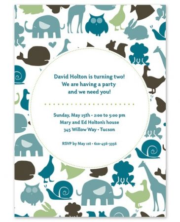 Blue Animals Invitation