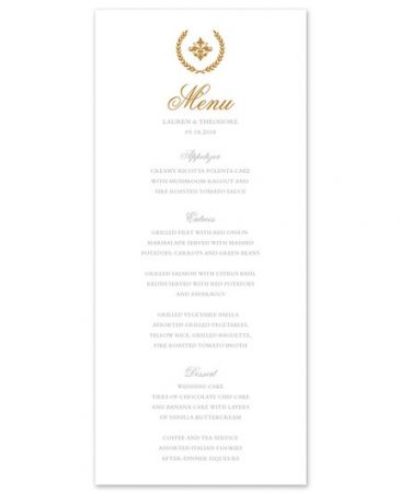 Iconic White Menu Card