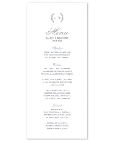 White Menu Card