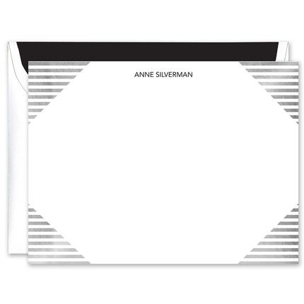 Lined Silver Foil Flat Card