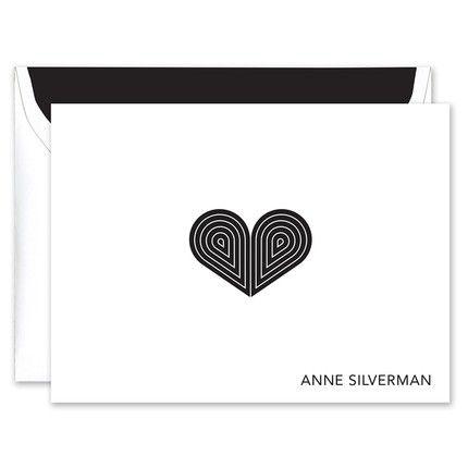Black Deco Heart Note Card