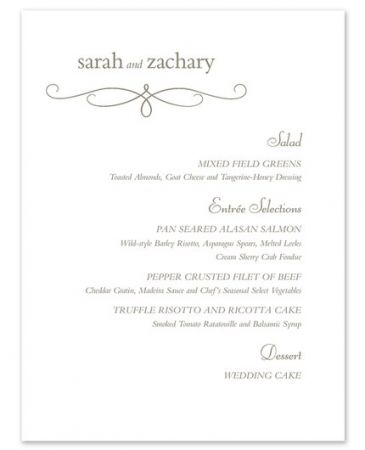 Bright White Menu Card