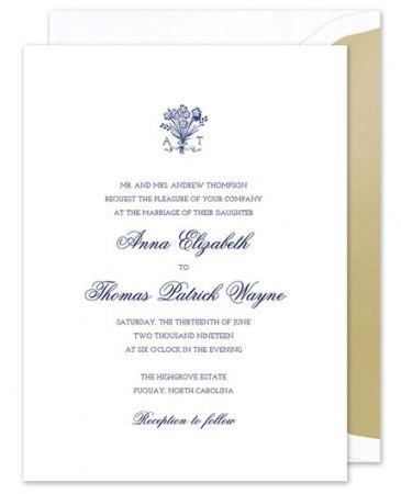 Bouquet Monogram Invitation