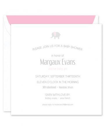 Pink Elephant Invitation